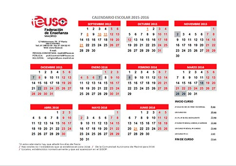 Calendario Escolar Madrid.Federacion De Ensenanza De Uso Calendario Escolar De La Comunidad